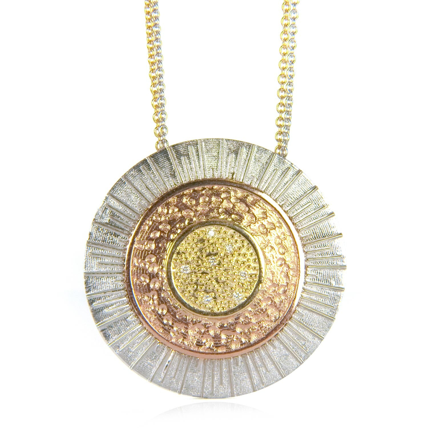Adam bespoke pendant - white, rose and yellow recycled gold and conflict-free diamonds