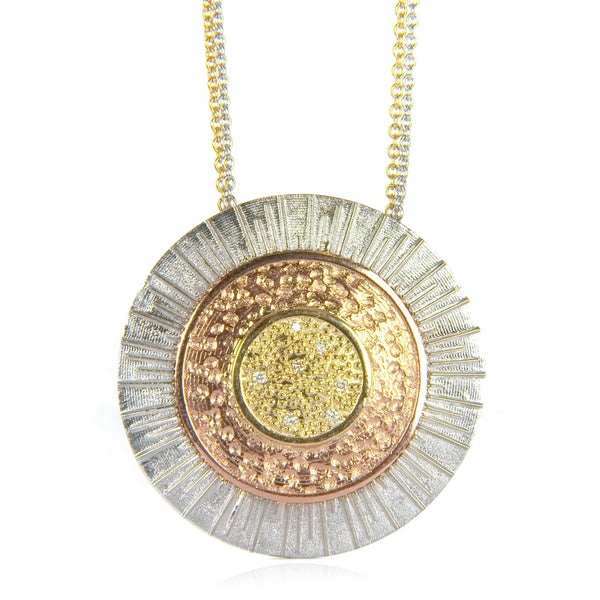 Bespoke Jewellery - Adam Diamond and rose & yellow & white Gold Pendant front- Arabel Lebrusan