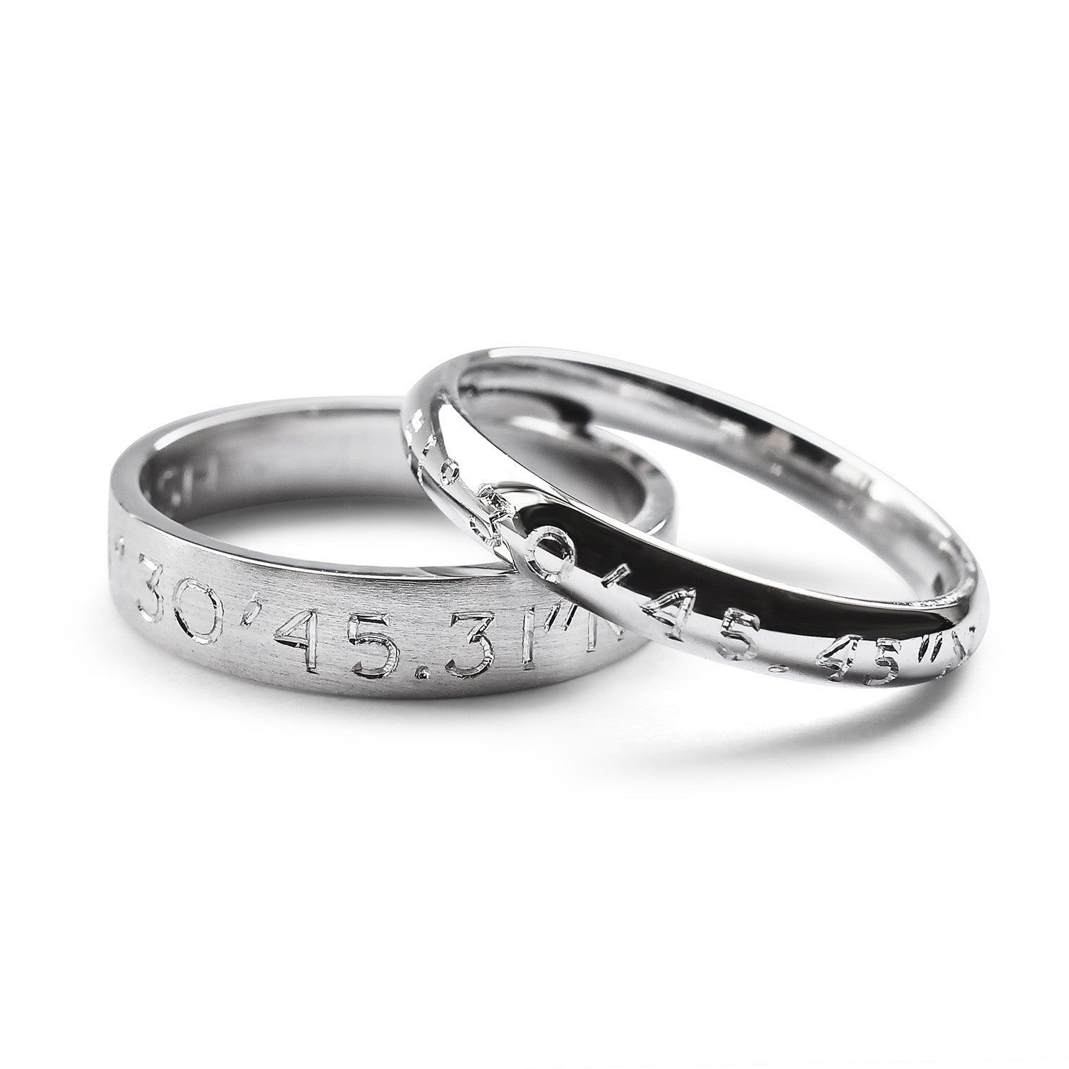 Bespoke wedding rings - hand-engraved coordinates in 100% recycled platinum