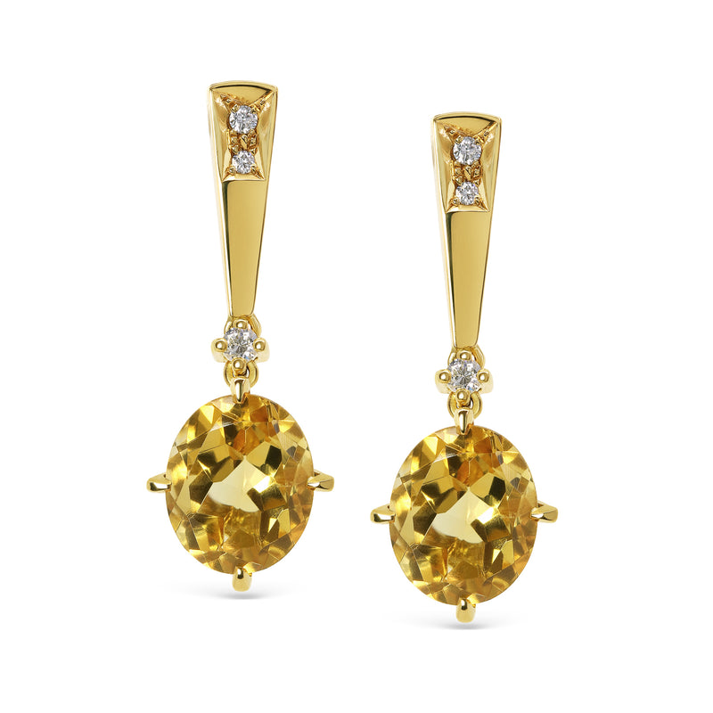Bespoke Citrine Pendant and Earring set - 18ct yellow gold, ethically-sourced citrine and white diamonds