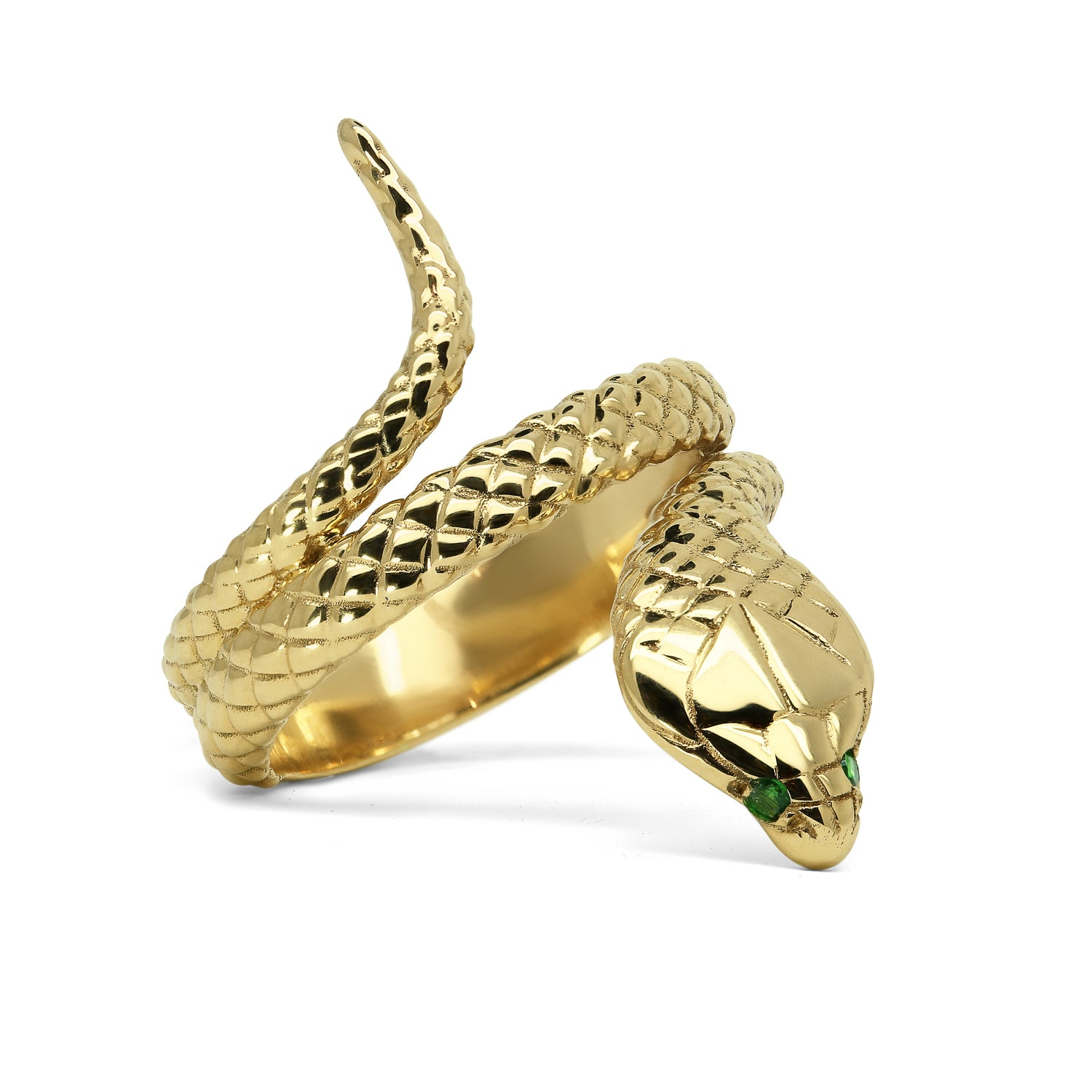 Bespoke Cobra Ring - hand-engraved 9ct recycled gold and ethical green garnets