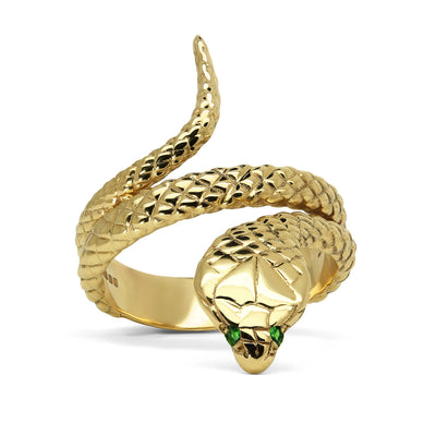 Bespoke Cobra Ring - hand-engraved 9ct recycled gold and ethical green garnets 3