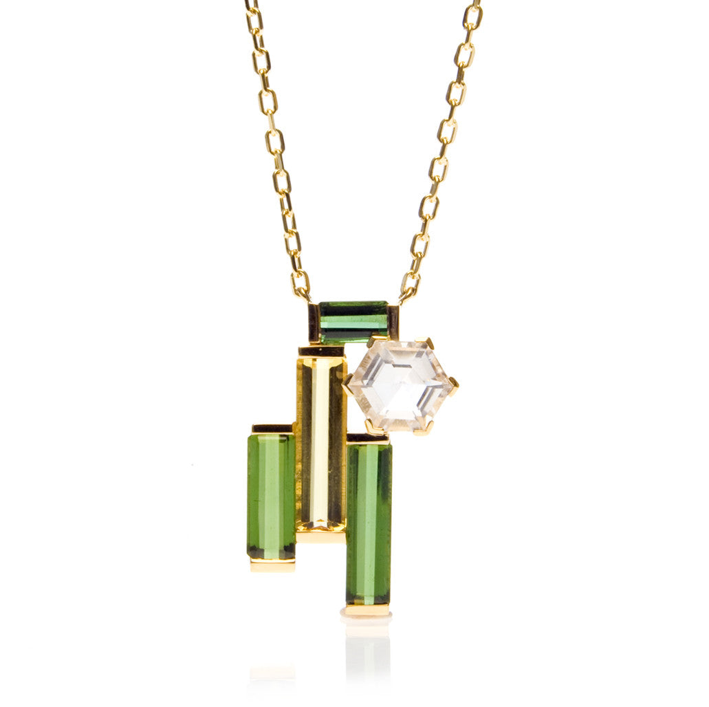 Bespoke Beryl & Crystal Quartz Pendant in 18ct gold