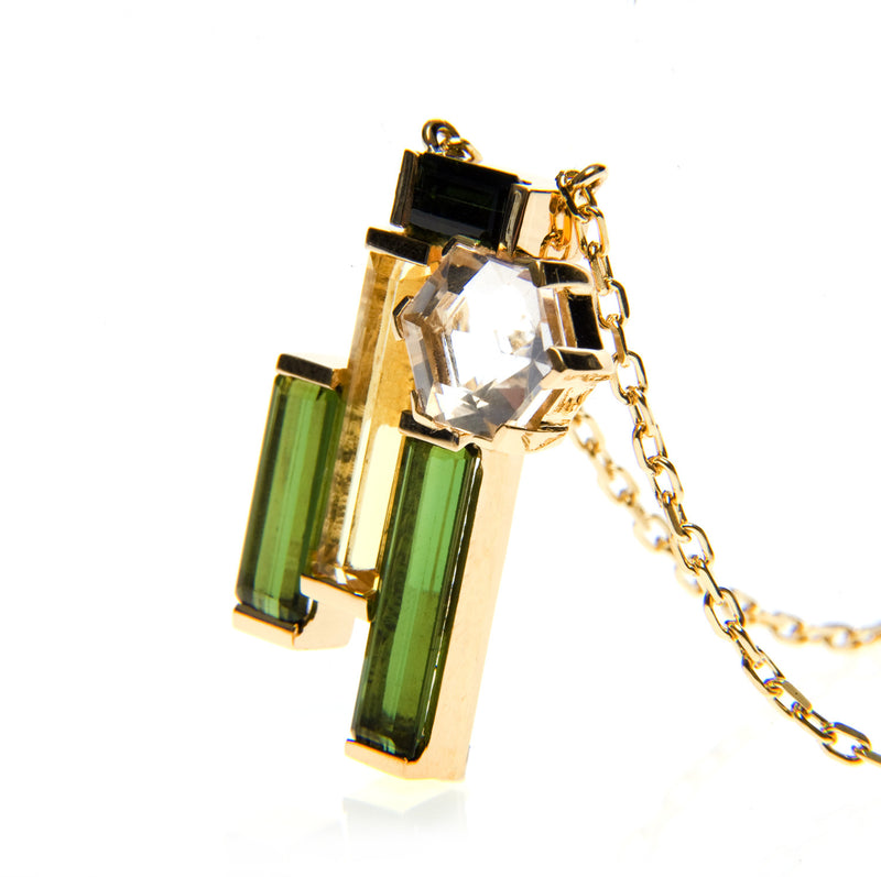 Bespoke Jewellery-Beryl & Crystal Quartz Pendant in 18ct gold side front-Arabel Lebrusan