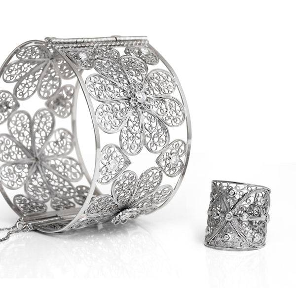 Bespoke Jewellery- Arabel Lebrusan- Maureen Filigree Diamond Bangle 2