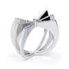 Bespoke Bow ring - 18ct white gold and conflict-free microset diamonds