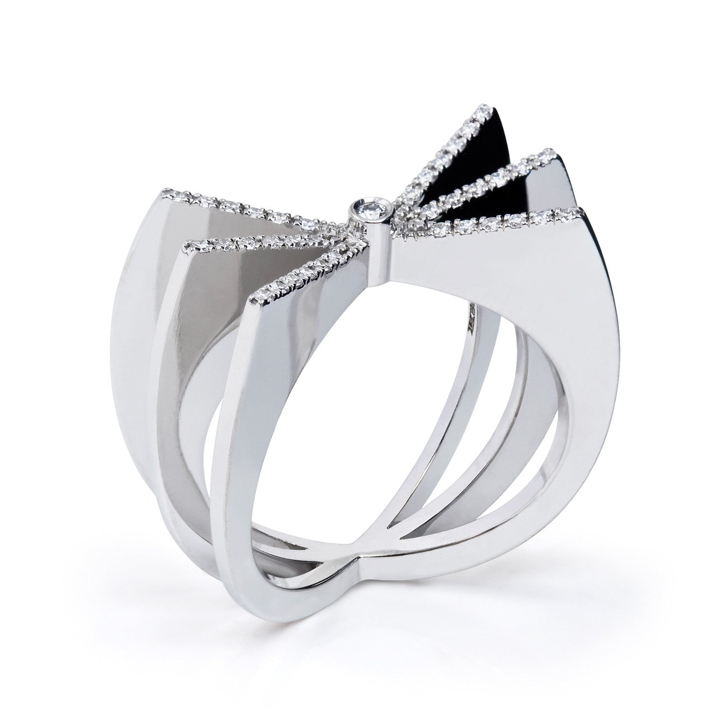 Bespoke Jewellery- Bow Diamond Ring in 18ct white gold and diamonds- Arabel Lebrusan