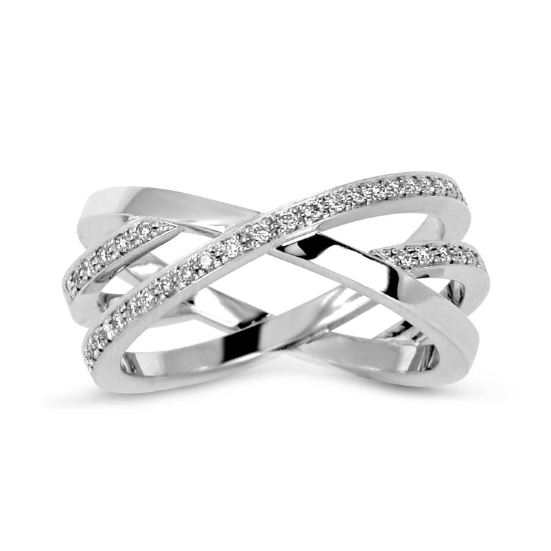 Bespoke Cross ring - 18ct recycled white gold and conflict-free diamonds