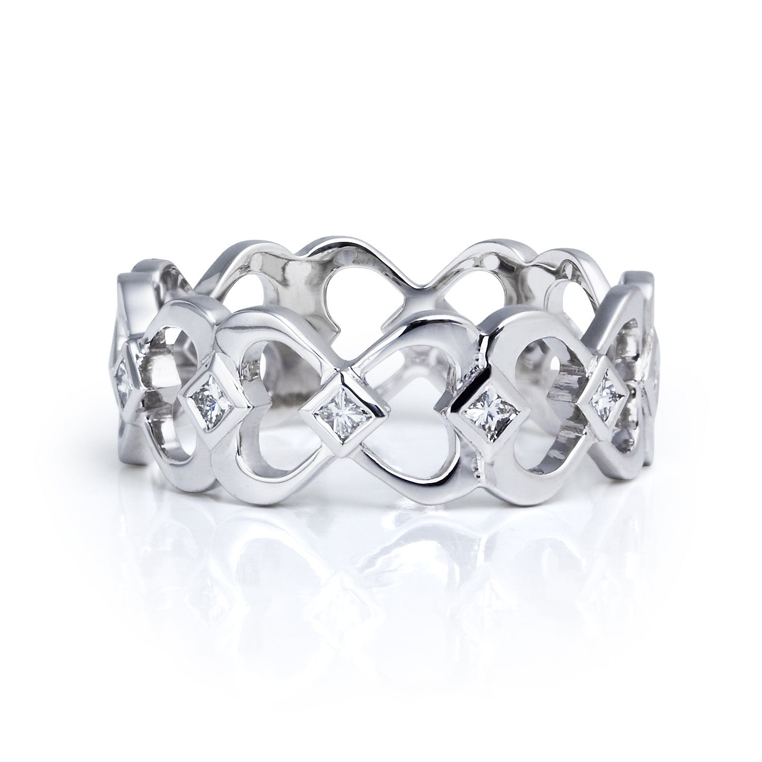 Bespoke princess wedding ring - 18ct recycled white gold, heart motifs and conflict-free princess-cut diamonds
