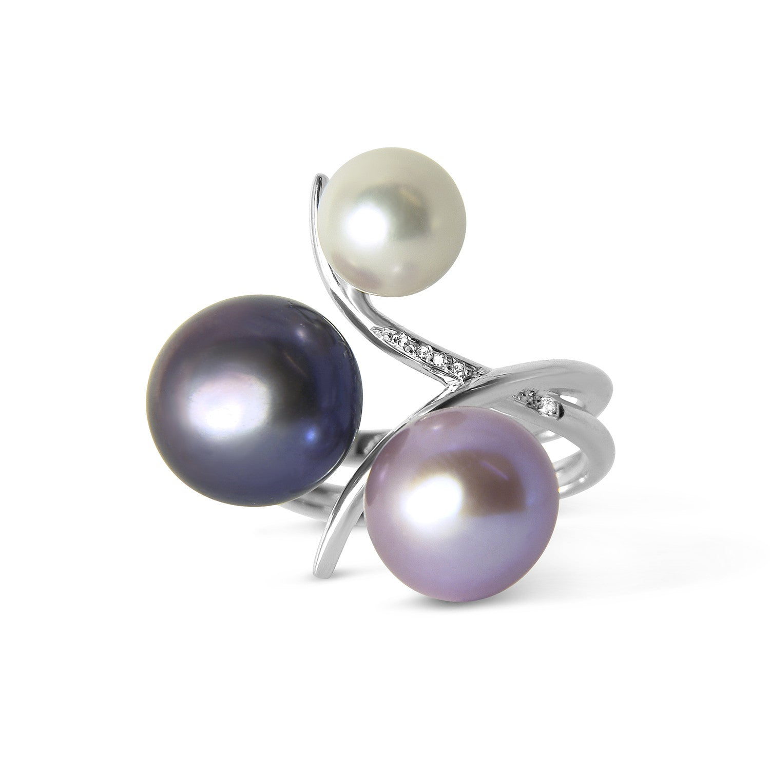 Bespoke Marie cocktail ring - freshwater pearls, diamonds and 18ct recycled white gold