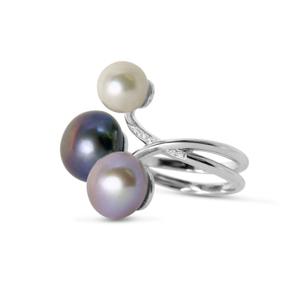 Bespoke Marie cocktail ring - freshwater pearls, diamonds and 18ct recycled white gold 2
