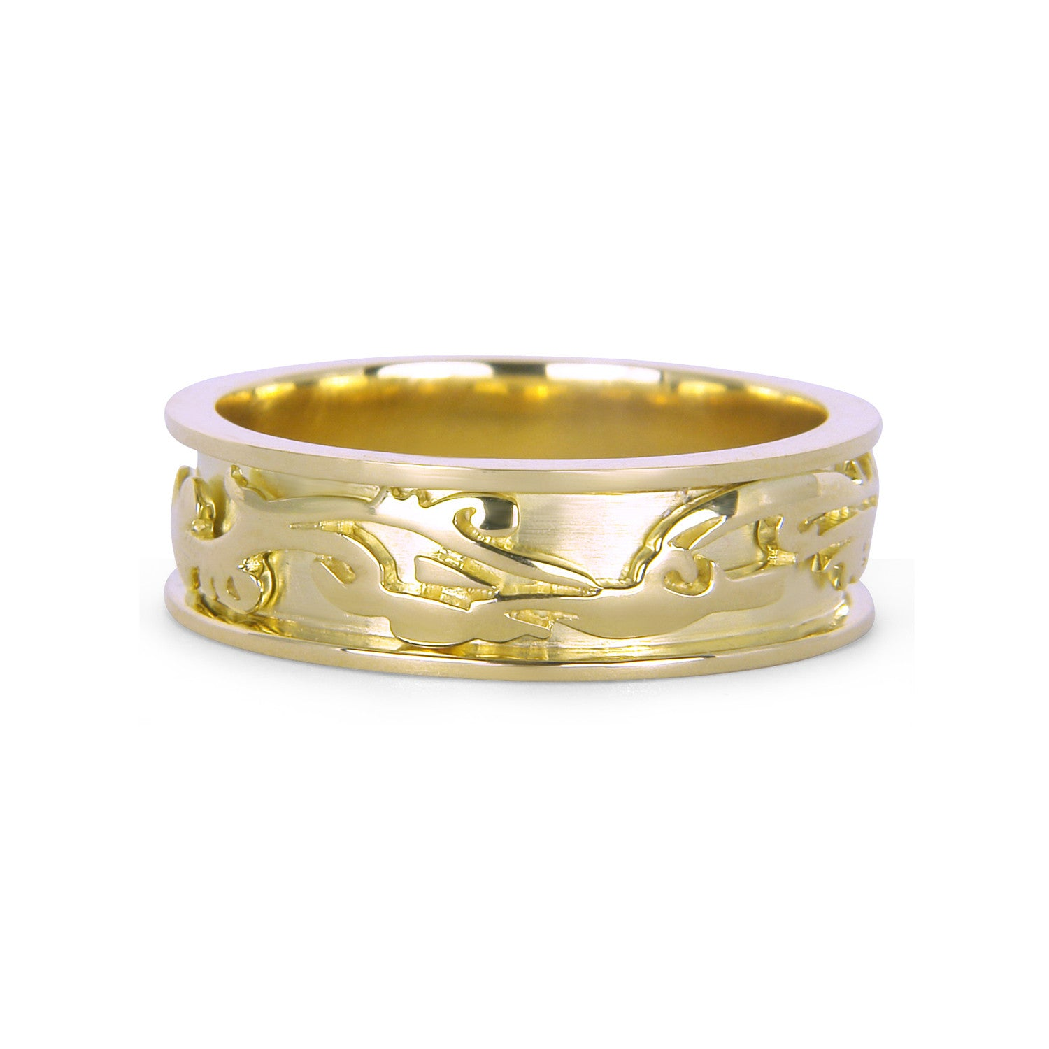 Bespoke Richard wedding ring - 18ct yellow old and unique dragon pattern