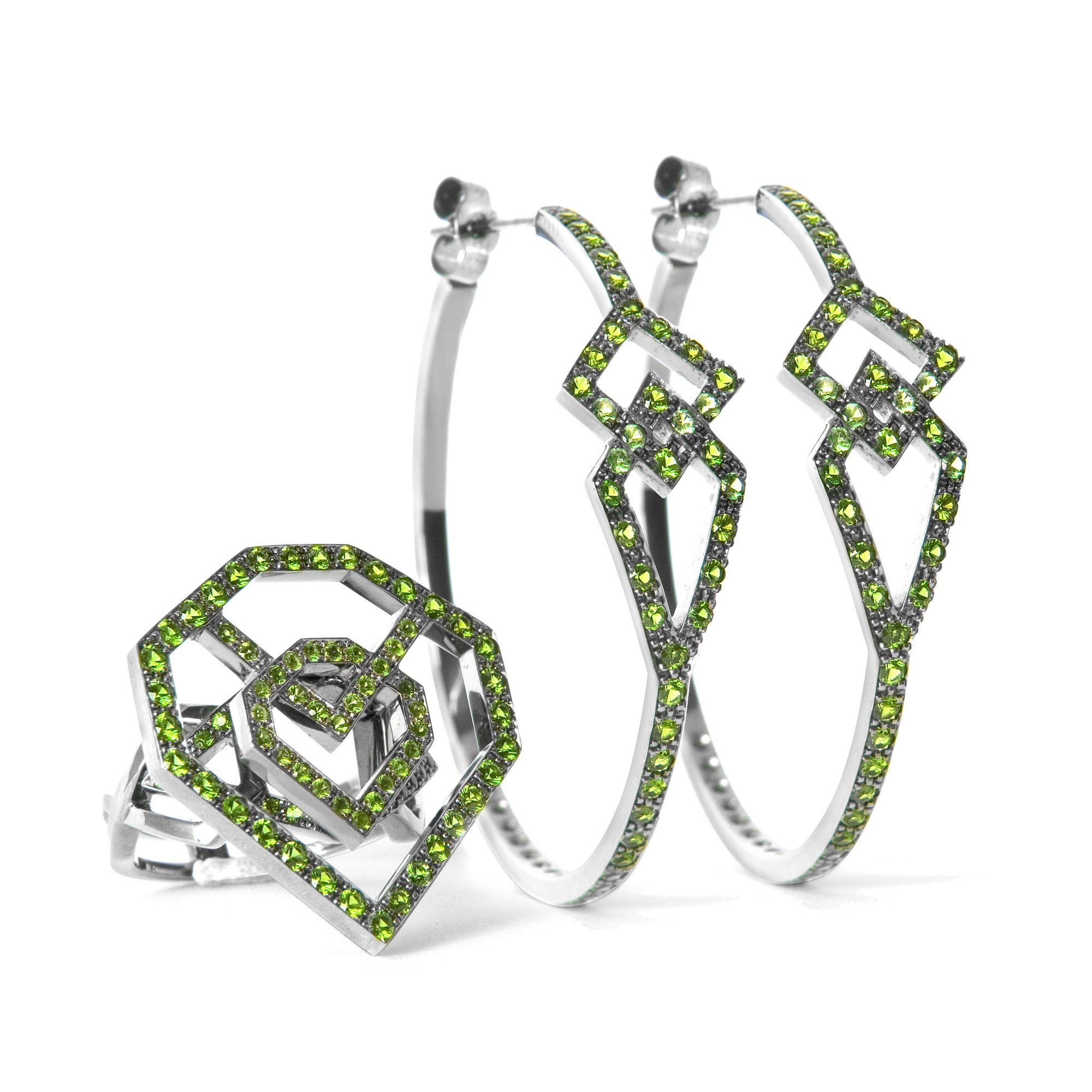 Bespoke Jewellery - Alice Alhambra Diopside Black Gold Earrings - Arabel Lebrusan