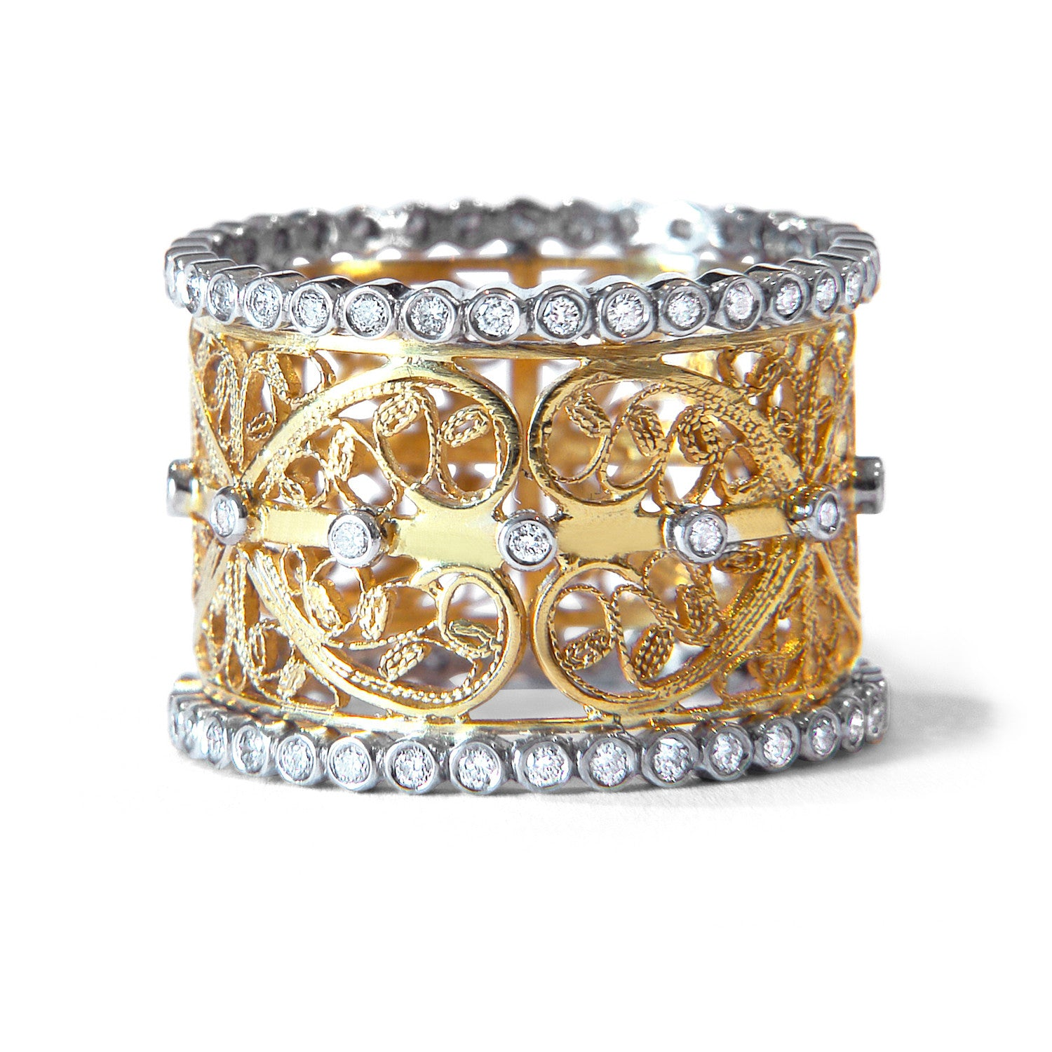 Bespoke engagement/wedding ring - recycled gold, conflict-free diamonds and filigree