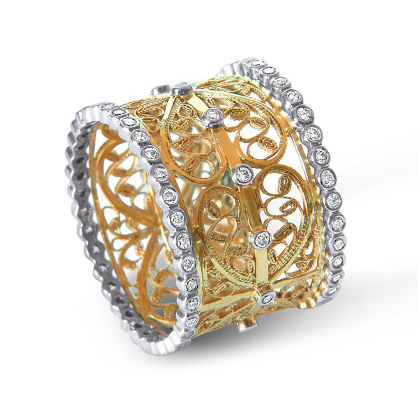 Bespoke Jewellery - Amy Gold Filigree Diamond Ring - Arabel Lebrusan