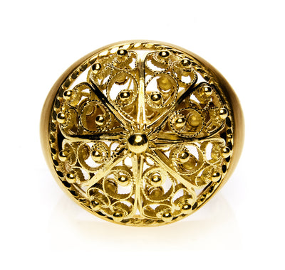 Bespoke filigree bombe ring - 18ct recycled yellow gold 3