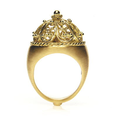 Bespoke filigree bombe ring - 18ct recycled yellow gold