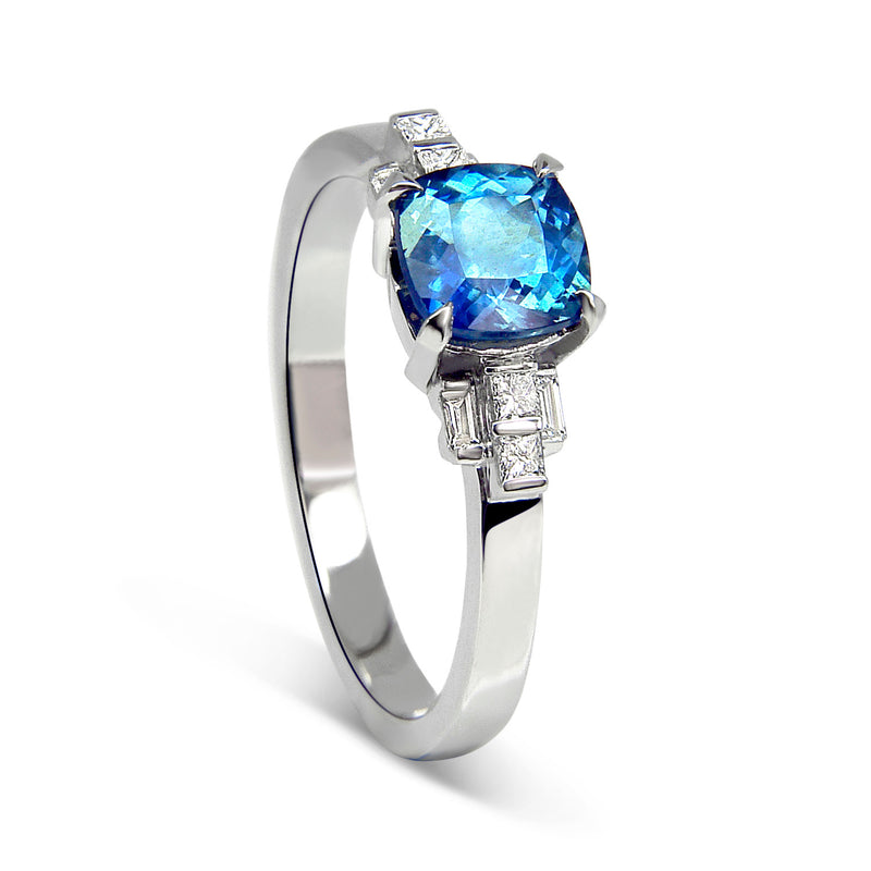 Bespoke Clare engagement ring - fair-traded sapphire, baguette-cut diamonds and 100% recycled platinum band