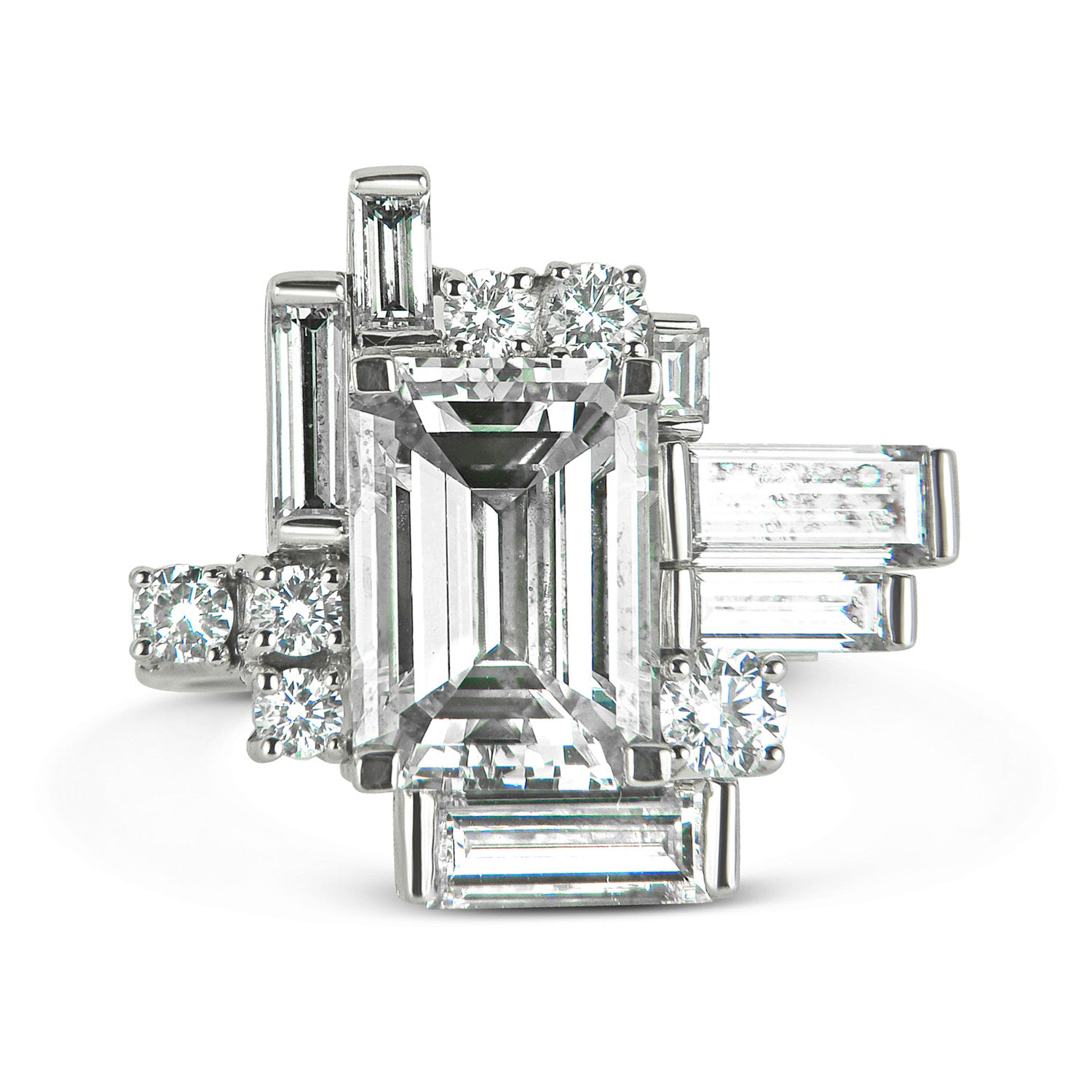 Bespoke Corene Art Deco cocktail ring - 18ct recycled white gold and recycled baguette diamonds