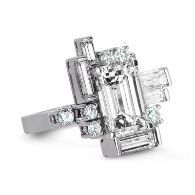 Bespoke Corene Art Deco cocktail ring - 18ct recycled white gold and recycled baguette diamonds 2