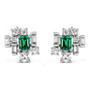 Bespoke Corene Art Deco earrings - recycled diamonds, recycled emeralds and recycled white gold
