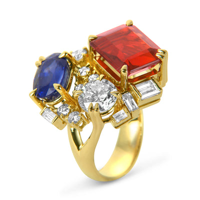 Bespoke cocktail ring - 18ct yellow gold and reclaimed coloured gemstones 3