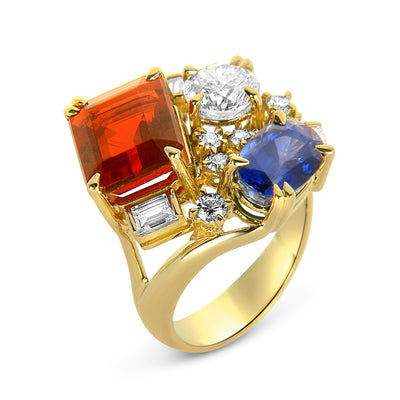 Bespoke cocktail ring - 18ct yellow gold and reclaimed coloured gemstones