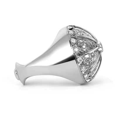 Bespoke Debbie filigree ring - 18ct recycled white gold and the client's old diamonds 2