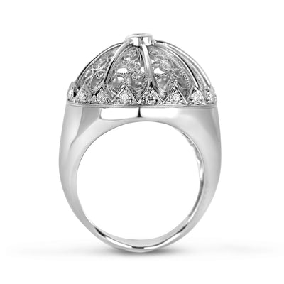 Bespoke Debbie filigree ring - 18ct recycled white gold and the client's old diamonds