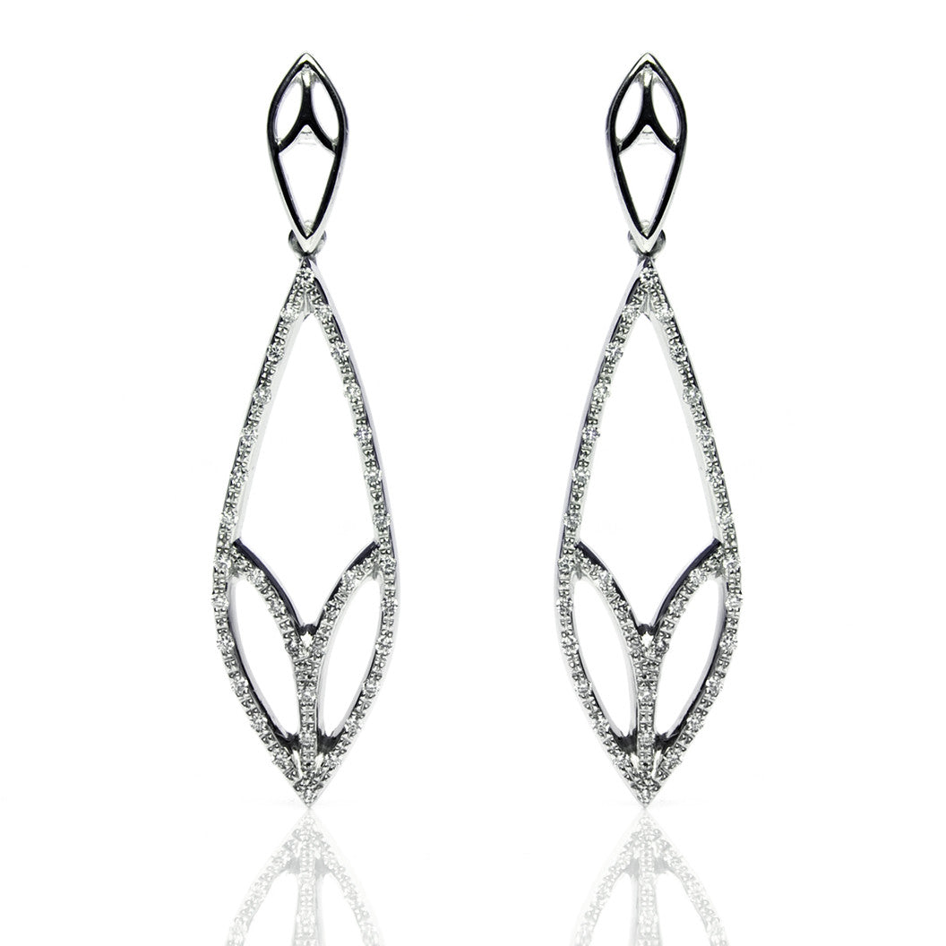 Bespoke Diamond Leaf Drop Earrings