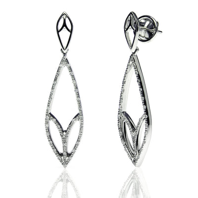 Bespoke Leaf drop earrings - 18ct recycled white gold and conflict-free diamonds 2