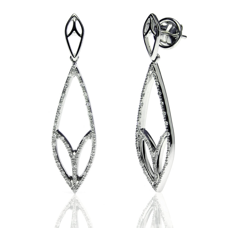 Bespoke Leaf drop earrings - 18ct recycled white gold and conflict-free diamonds