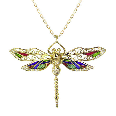 Bespoke dragonfly pendant - 18ct yellow gold, coloured enamel and conflict-free diamonds
