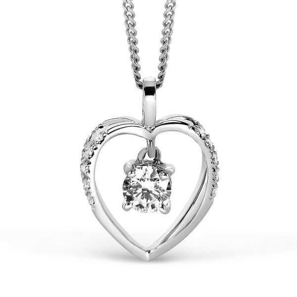 Bespoke Jewellery - Heart Diamond Gold Solitaire Pendant - Arabel Lebrusan