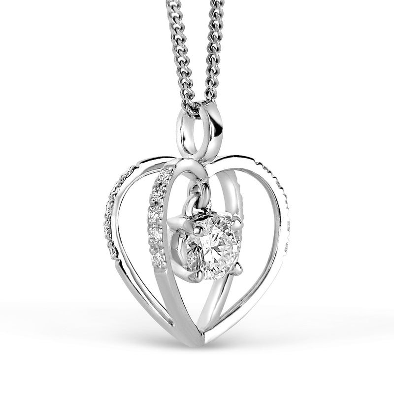 Bespoke heart solitaire pendant - reclaimed central diamond and ethical 18ct white gold