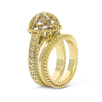 Bespoke filigree engagement ring and wedding band set - 18ct recycled yellow gold 2