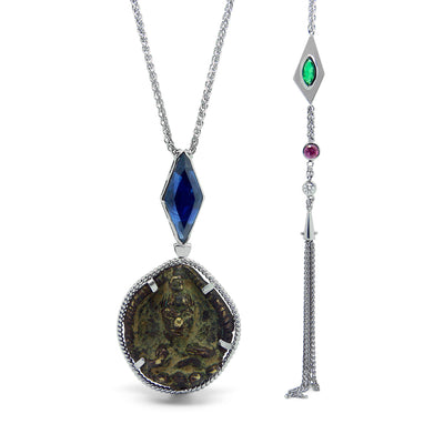 Bespoke James amulet pendant - 18ct white gold and fair-traded sapphire, ruby and emerald