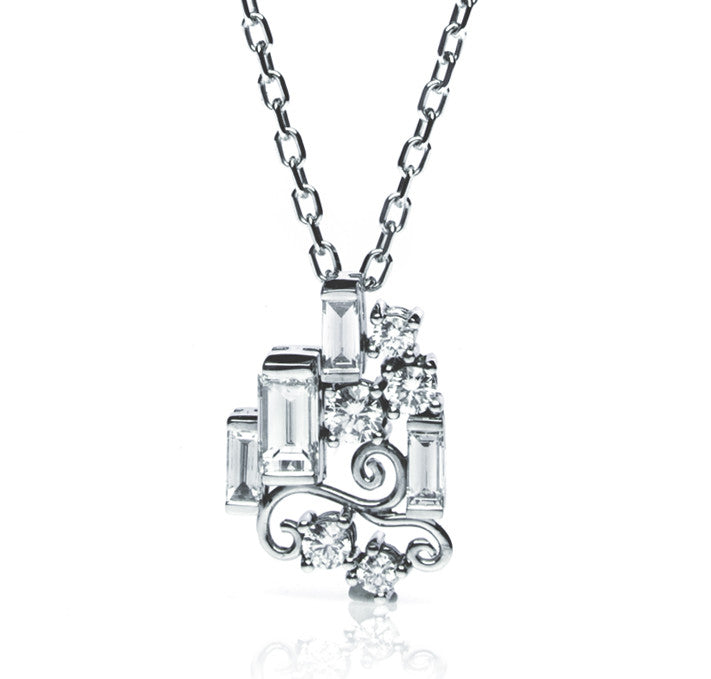 Bespoke Manuela pendant - 18ct white gold, Art Deco inspired, conflict-free diamonds