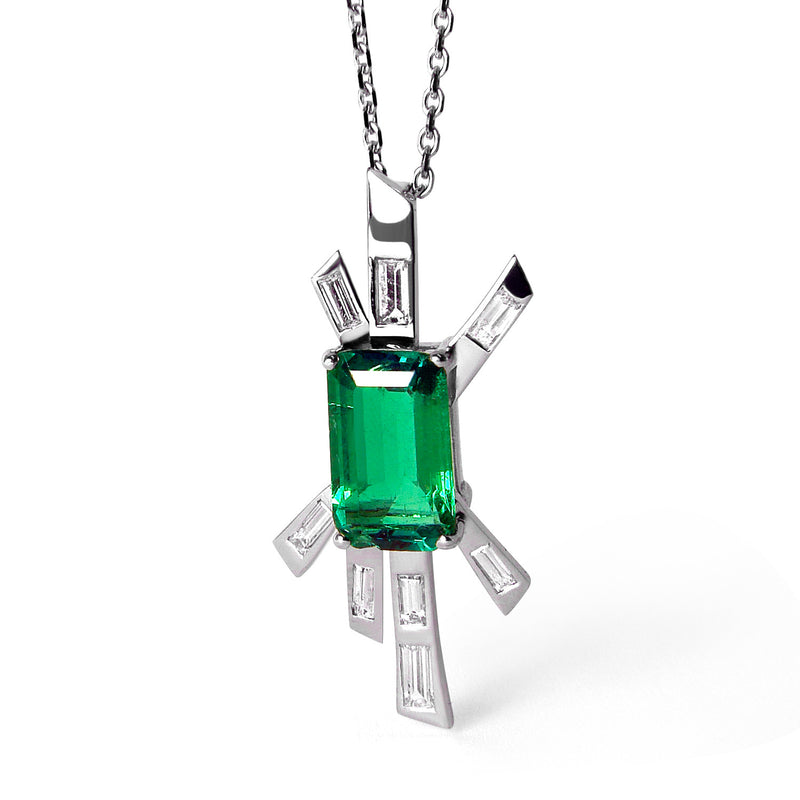 Bespoke Patrizia Art Deco-inspired pendant - emerald-cut reclaimed emerald, baguette-cut diamonds and ethical white gold