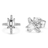 Bespoke Shairose earrings - 18ct white gold and client's own emerald-cut diamonds 2