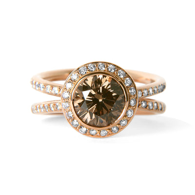 Bespoke Sigi engagement ring - recycled rose gold, conflict-free champagne diamond and conflict-free white diamonds