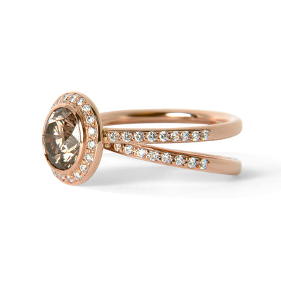 Bespoke Sigi engagement ring - recycled rose gold, conflict-free champagne diamond and conflict-free white diamonds 2