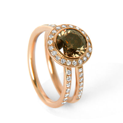 Bespoke Sigi engagement ring - recycled rose gold, conflict-free champagne diamond and conflict-free white diamonds 3