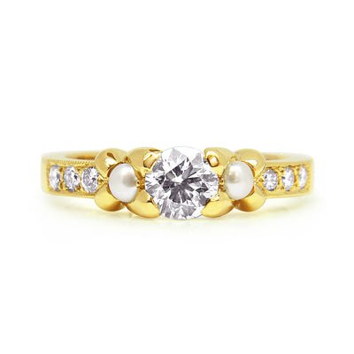 Bespoke Simon engagement ring - 18ct yellow gold, diamonds and pearls