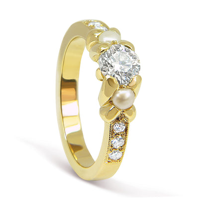 Bespoke Simon engagement ring - 18ct yellow gold, diamonds and pearls 3