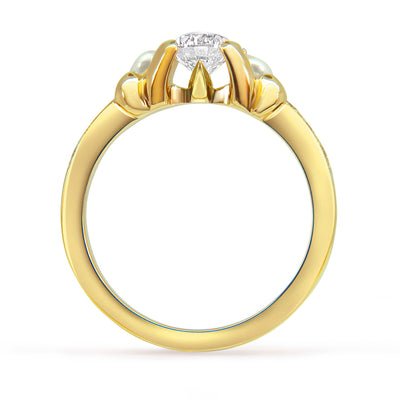 Bespoke Simon engagement ring - 18ct yellow gold, diamonds and pearls 2