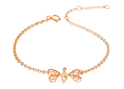 Filigree Friendship Butterfly Bracelet. Rose Gold