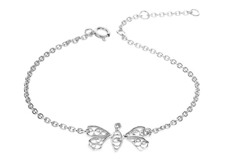Filigree Friendship Butterfly Bracelet. White - Arabel Lebrusan