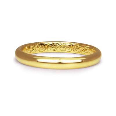 Bespoke Chris wedding ring - 3mm recycled gold court band with intricate hand-engraved scrolls