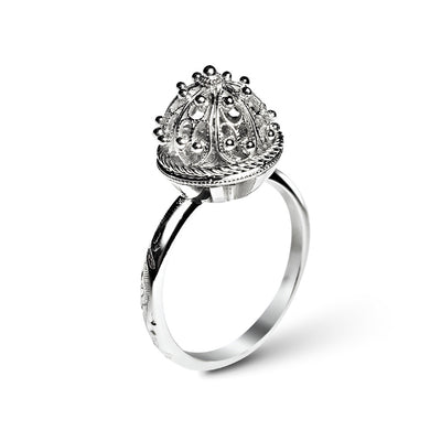 Bespoke Alexandra Engagement Ring - recycled white gold and hand-made filigree cabochon